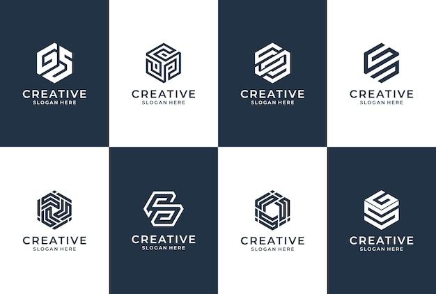 六角形の文字スタイルのコレクション。レタリングアイデンティティ。ブランディングビジネスロゴのインスピレーション。