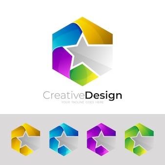 六角形のロゴと星のデザインの組み合わせ、カラフル