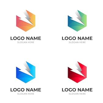六角形のロゴと雷のデザインの組み合わせ、3dカラフルなロゴを設定します