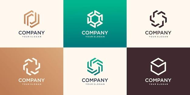 스트라이프 개념, 현대 회사 로고 템플릿 육각 로고 디자인