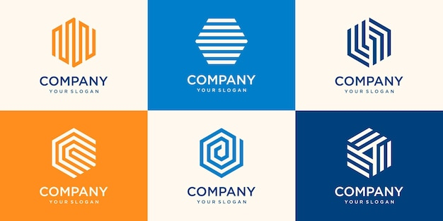 ストライプコンセプトの六角形のロゴデザイン