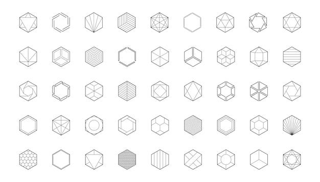 Hexagon logo template.  honeycomb icon. creative design elements.