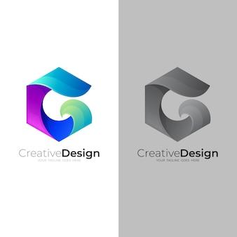 Gアイコンベクトル画像と六角形のロゴ Premiumベクター