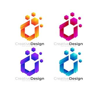 ピクセルデザインテンプレート、テクノロジーロゴと六角形のロゴ Premiumベクター