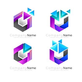 기술 디자인 벡터, 픽셀 로고가 있는 육각형 로고