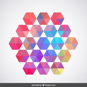 Hexagon made with pastel colors hexagons