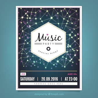 ラインとライトが付いている六角形の音楽パーティーのポスター