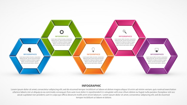 Hexagon options infographics template.