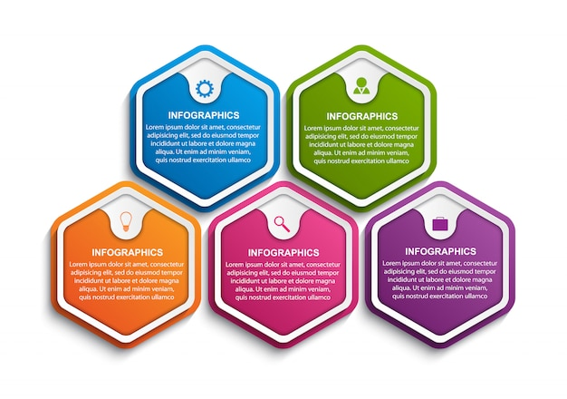 Hexagon options infographics template.