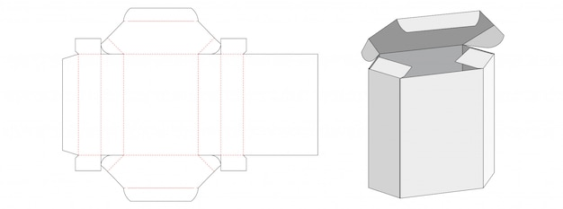 Hexagon packaging box die cut template
