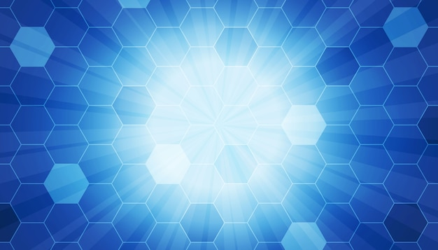 Hexagon pattern with ray beam background