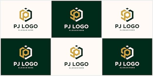 Hexagon pj logo design template