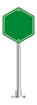 Дорожный знак шестиугольника. пустой рекламный щит зеленого шоссе.