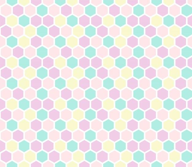 六角形のパステルカラーのシームレスなパターン。