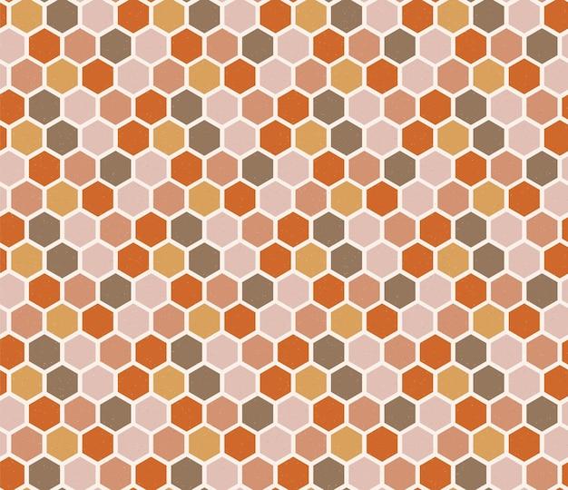 六角形のシームレスパターンのレトロなスタイル