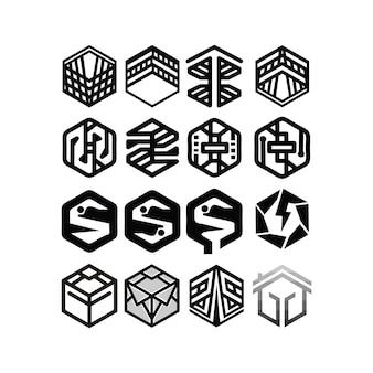 육각 설정된 로고 디자인 벡터 템플릿