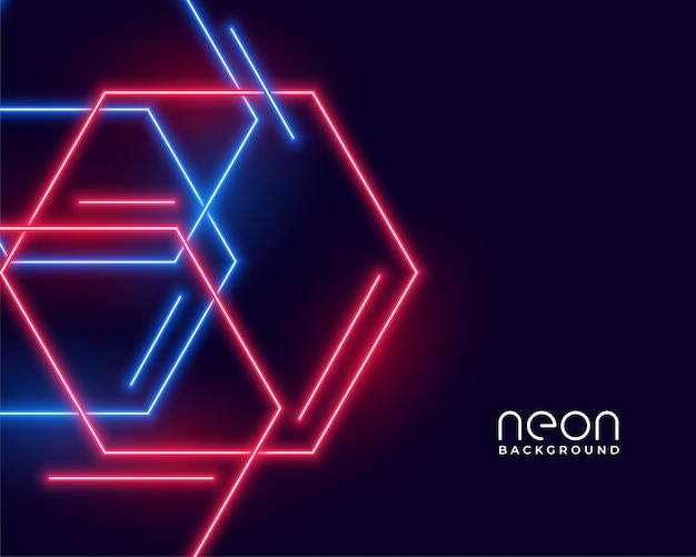 Hexagon shape neon lights in blue and red colors
