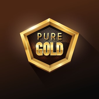 Hexagon shape shiny golden badge