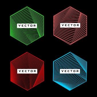 Hexagon shape with geometric line pattern color design element vector set