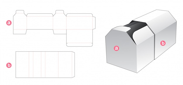 Hexagon shaped box and cover die cut template
