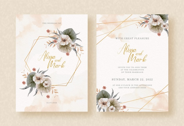 Hexagon shapes with watercolor flowers and leaves on wedding invitation