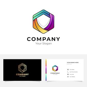 六角形の盾のロゴと名刺のデザイン