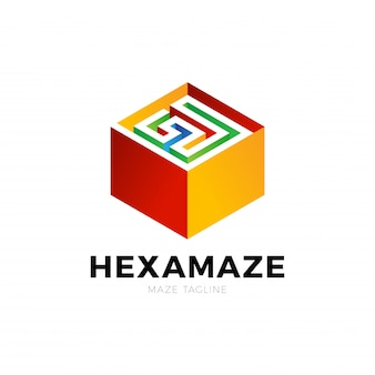 Hexagon square maze vector logo. labyrinth logotype