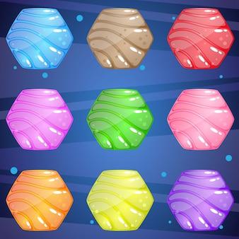 밝고 반짝이는 물결 무늬의 육각형 스톤으로 퍼즐 게임에 적합합니다.