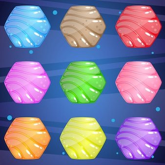 Hexagon stone with a wave pattern that is bright and shiny for puzzle game.