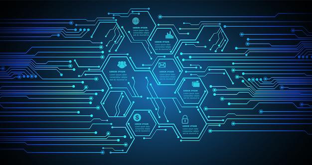 웹 사이트, 사물 사이버 기술의 인터넷에 대한 육각 텍스트 상자 회로 템플릿