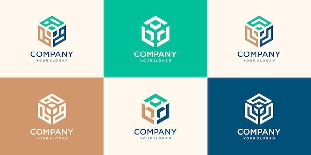 矢印のロゴデザインの六角形。テクノロジーのロゴ。作品のロゴ。開発者ロゴ