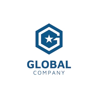 Hexagon with initial g and star logo design