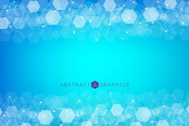 Шестиугольный абстрактный фон. визуализация больших данных. подключение к глобальной сети. медицина, технологии, наука.