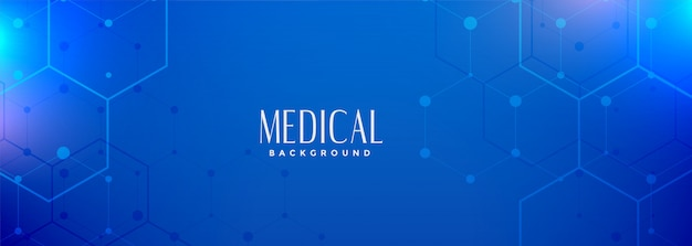 Hexagonal blue medical science banner digital