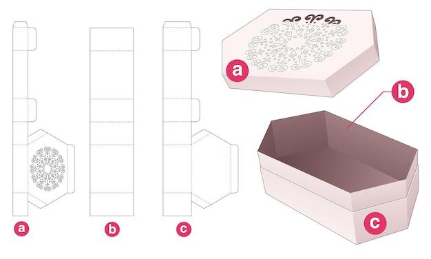 Шестиугольная коробка и крышка с высеченным шаблоном мандалы по трафарету