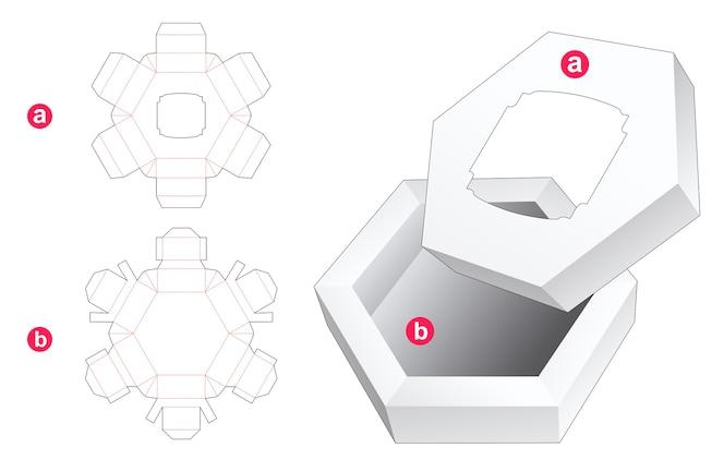 六角形のボックスとビンテージウィンドウダイカットテンプレートと蓋