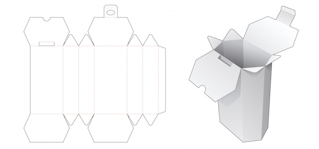Hexagonal box die cut template