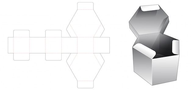 Hexagonal box with flip top lid die cut template