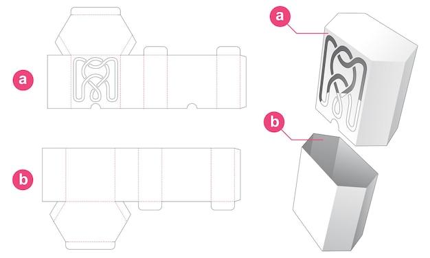 Hexagonal box with mandala stencil on cover die cut template