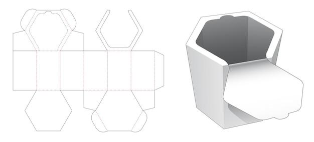 상단 지퍼 다이 컷 템플릿이있는 육각형 상자