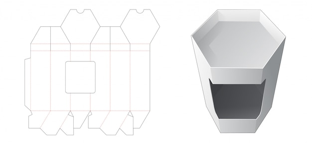 Hexagonal box with window die cut template