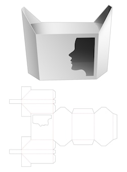 Hexagonal box with woman face shaped window die cut template design Premium Vector