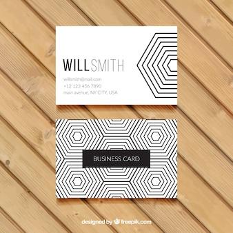 Шестиугольная визитные карточки в черно-белом