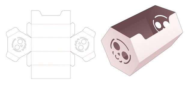 ステンシルスカルダイカットテンプレートと六角形のキャンディーコンテナ
