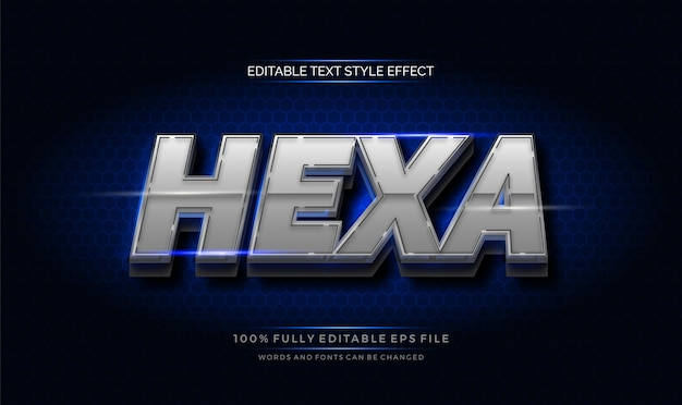 Hexagonal chrome text effect. modern editable text style effect
