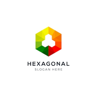 Hexagonal colorful geometric logo