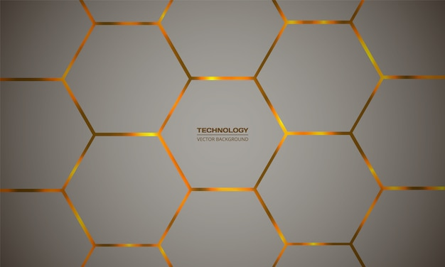 Hexagonal colorful vector abstract background. orange bright flashes under hexagon texture grid.