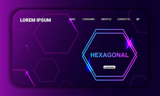 Hexagonal concept landing page template