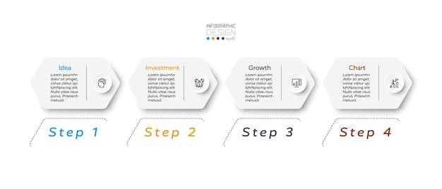六角形のデザイン4ステップのインフォグラフィック。