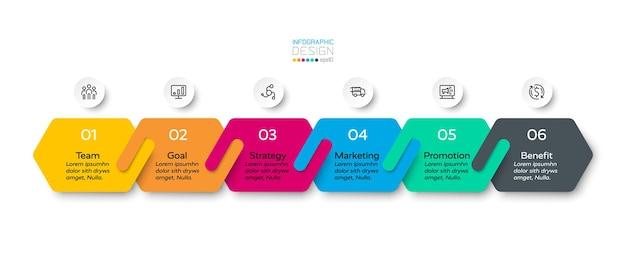 六角形のデザイン6段階のインフォグラフィックデザイン。